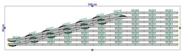 Skica garaže za TGVje. Tir za posamezen vlak mora biti dolg najmanj 180 cm, kar bo še križ