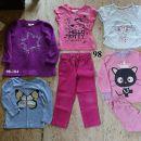 98 dekliška otroška oblačila 12€. majica tunika pižama hlače