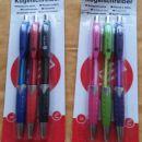 Kemični svinčniki,14 kosov-3 Eur, zraven še dvoje mini barvice in peresnica