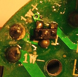 Burnt out nonworking power mosfet element at Cree bulb part of a circuit